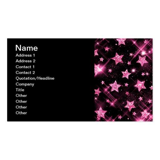 Elegant Business Pink Glitter Stars Double Sided Standard