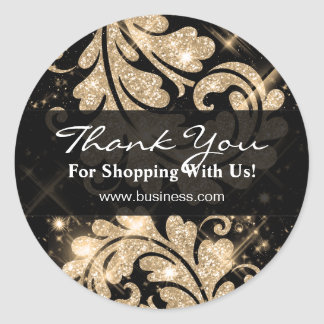 Elegant Business Thank You Gold Glitter Floral Sticker