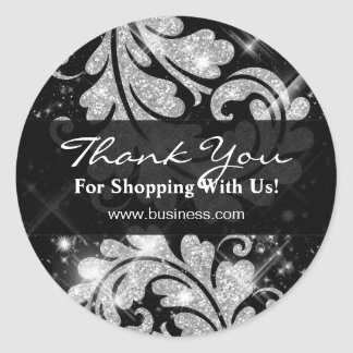 Elegant Business Thank You Silver Glitter Floral Round Stickers