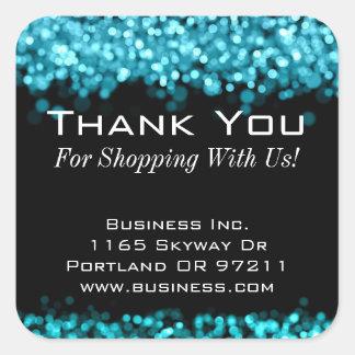 Elegant Business Thank You Sparkling Lights Blue Square Sticker