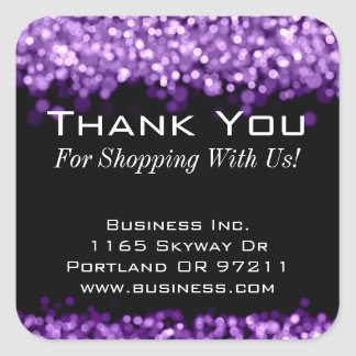 Elegant Business Thank You Sparkling Lights Purple Square Sticker