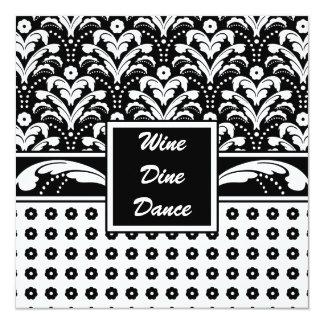 Elegant Business Woman's Art Deco Damask Chic 5.25x5.25 Square Paper Invitation Card