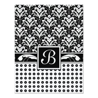 Elegant Business Woman's Art Deco Damask Chic 4.25x5.5 Paper Invitation Card