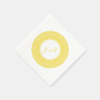 Elegant buttercup yellow lace cocktail napkin