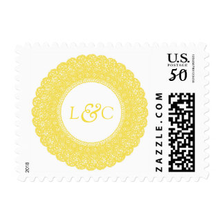 Elegant buttercup yellow lace monogram postage