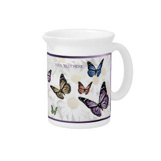 Elegant Butterflies and Daisies Porcelain Pitcher