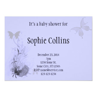 """Elegant Butterflies and Roses 5.5"""" X 7.5"""" Invitation Card"""
