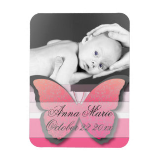 Elegant Butterfly Baby Announcement Magnet