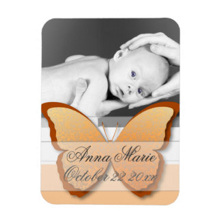 Elegant Butterfly Baby Announcement (orange & brow Magnet