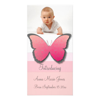 Elegant Butterfly Baby Announement Photo Card