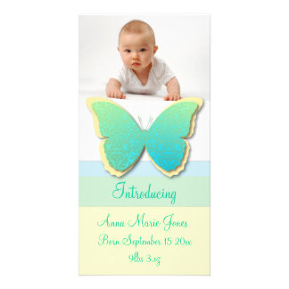 Elegant Butterfly Baby Announement (Yellow & Green Photo Card