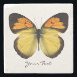 "Elegant Butterfly Custom Stone Coaster<br><div class=""desc"">Elegant stone coaster with digital graphics of a orange,  black,  and yellow butterfly.  Black script text reads whatever you want it to say.  Makes a lovely gift idea.</div>"