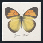 """Elegant Butterfly Custom Stone Coaster<br><div class=""""desc"""">Elegant stone coaster with digital graphics of a orange,  black,  and yellow butterfly.  Black script text reads whatever you want it to say.  Makes a lovely gift idea.</div>"""