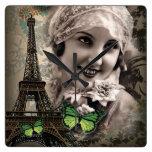 elegant butterfly eiffel tower paris girl Vintage Square Wallclock