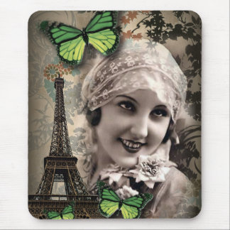 elegant butterfly eiffel tower paris girl Vintage Mouse Pad