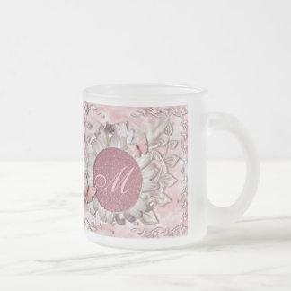 Elegant Butterfly Floral Gem Monogram Frosted Glass Coffee Mug