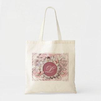 Elegant Butterfly Floral Gem Monogram Tote Bag
