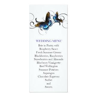 Elegant Butterfly Floral Swirls Wedding Menu 4x9.25 Paper Invitation Card