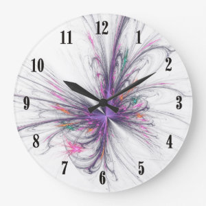 Elegant Butterfly Fractal Wall Clock w Black Hands