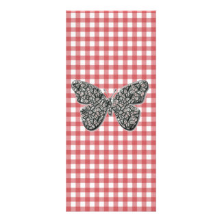Elegant Butterfly On Red Gingham Bookmark Personalised Rack Card