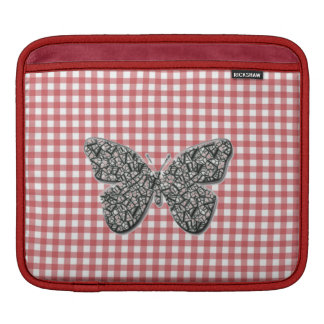 Elegant Butterfly On Red Gingham ipad Sleeve
