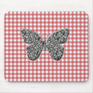 Elegant Butterfly On Red Gingham Mouse Pad