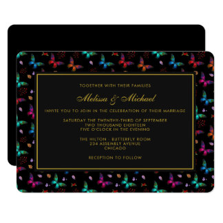 Elegant Butterfly Pattern on Black Wedding Invite