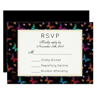 Elegant Butterfly Pattern on Black Wedding RSVP Card