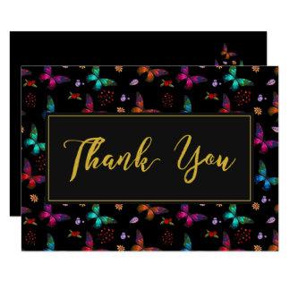 Elegant Butterfly Pattern on Black Wedding Thanks Card