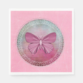 Elegant Butterfly Pink Party Napkins