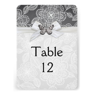Elegant Butterfly Ribbon Damask Table card