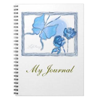 Elegant Butterfly & Roses Blue Notebook