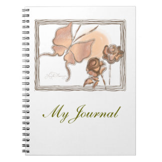 Elegant Butterfly & Roses Copper Notebook