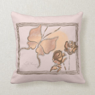 Elegant Butterfly & Roses Copper Throw Pillows