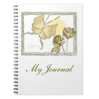 Elegant Butterfly & Roses Gold Spiral Note Books