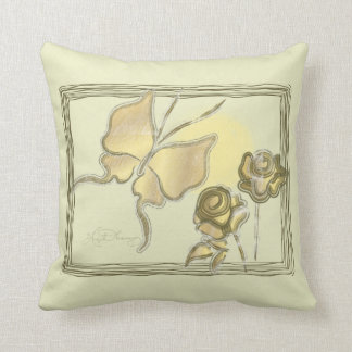 Elegant Butterfly & Roses Gold Throw Pillow