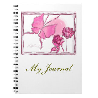 Elegant Butterfly & Roses Pink Note Books