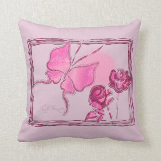 Elegant Butterfly & Roses Pink Pillows