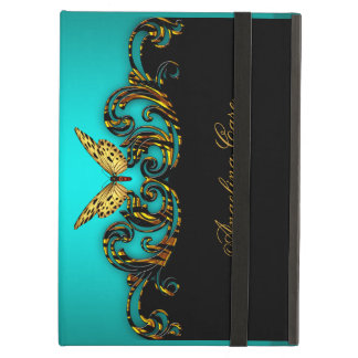 Elegant Butterfly Teal Blue gold Black iPad Cases