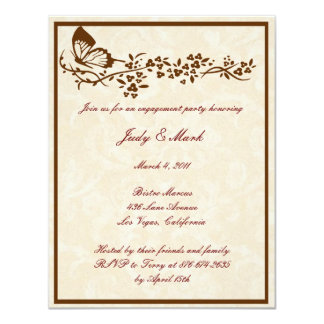 Elegant Butterfly Wedding Engagement Party Invitat Card