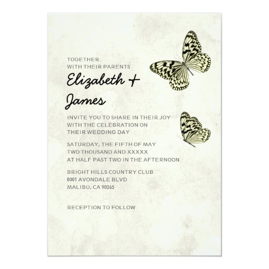 Butterfly Themed Wedding Invitations: Elegant Butterfly Wedding Invitations