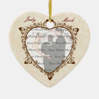 Elegant Butterfly Wedding Photo Heart Ornament