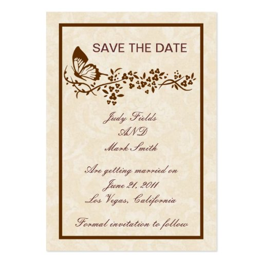 Elegant Butterfly Wedding Save The Date Card Business Card Templates