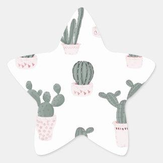 Elegant Cacti in Pots Pattern Star Sticker