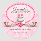 Elegant Cake and Damask Bakery Stickers