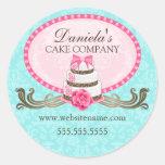 Elegant Cake and Damask Bakery Stickers