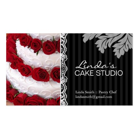 Elegant White Wedding Cake with Red Roses Bakery Business Cards