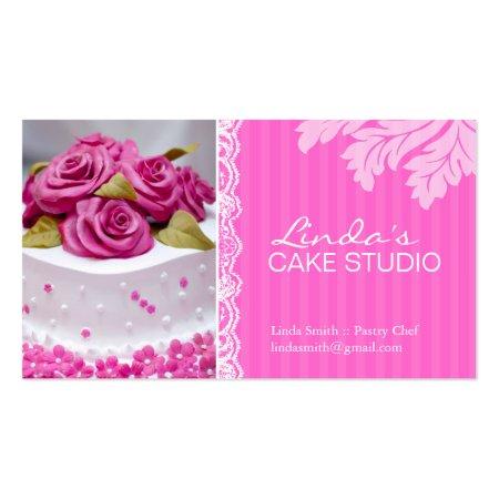 Elegant White Wedding Cake with Pink Roses Cake Studio Business Cards