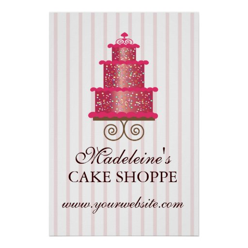 Elegant Cake Custom Bakery Business Poster Zazzle