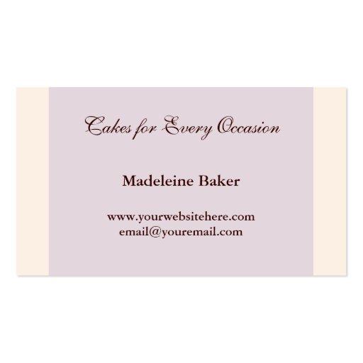 Elegant Cake on Blue Custom Bakery Business Card (back side)